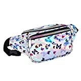 Holyami Fashion Holographic Fanny Pack for Women Men-Waterproof Travel Waist Packs Bum Purse Bags for Rave, Festival,Hiking (Butterfly)