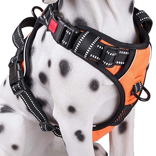 (PoyPet No Pull Dog Harness, No Choke Front Lead Dog Reflective Harness, Adjustable Soft Padded Pet Vest with Easy Control Handle for Small Medium Large Dogs(Orange,L))