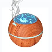 Uni Home Aromatherapy Essential Oil Diffuser, 200ml Wood Grain Ultrasonic Humidifier, Cool Mist and Colorful Projection, Waterless Auto Shut-off for Office, Bedroom, Living Room, baby, Yoga, Spa.