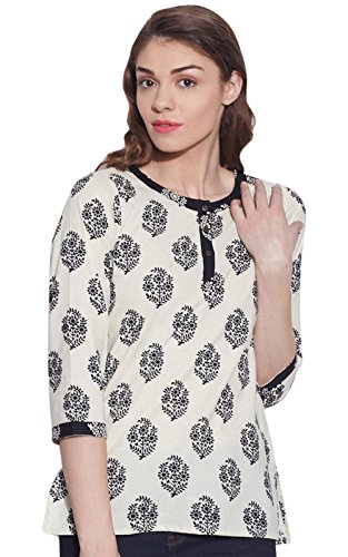 Womens Tunic Top 3/4 Sleeve Short Kurta Kurti Indian Ethnic Blouse Gift For ()