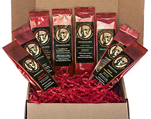 Lovers Gift Set - Best Cat Lover Coffee Lover Coffee Gift Set. 8 Delicious Fresh Roasted Coffees | Funny Feline-Inspired Names and Labels in Coffee Sampler Box with Festive Red Crinkle Paper Shred Bundle