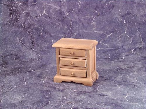 Dollhouse Miniature Unfinished Three Drawer (Bedroom Unfinished Nightstand)