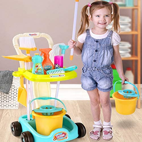 Children's Sweeping Toy Cleaning Kit Tool Trolley Simulation Play House Cleaning Toy