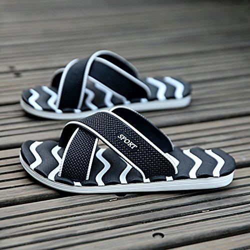 diaria 38 Negro tamaño antideslizante gran para sandalias zapatillas Inicio hombres Flops sandalias de zapatillas verano Flip hombres transpirable MONAcwe y Sandalias Casual Rq1S1z