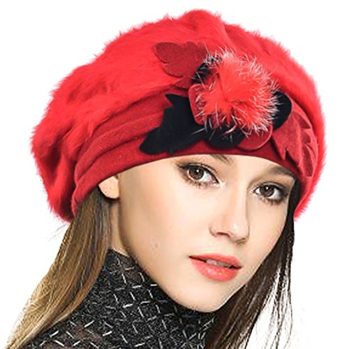 Flapper Hat In Red (Lady French Beret 100% Wool Beret Floral Dress Beanie Winter Hat (Angola-Red))