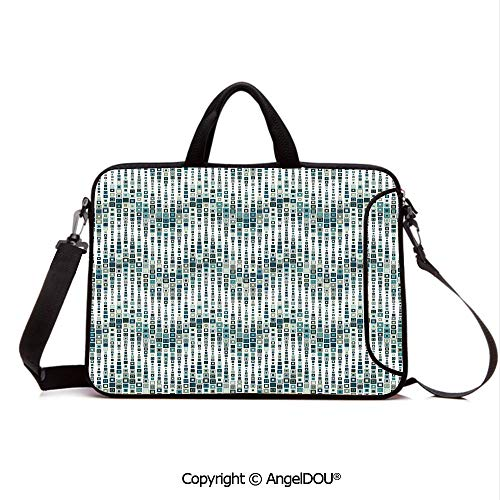 AngelDOU Neoprene Laptop Shoulder Bag Case Sleeve with Handle and Extra Pocket Wave Shape Geometric Figures Color Tile Mosaic Artistic Composition with Squares Compatible with MacBook/Ultrabook/HP/A