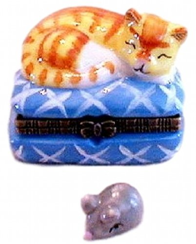 Yellow Tiger Cat Porcelain Trinket Box with Tiny Owl Inside, 1.75 Inches Tall
