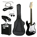 ZENY Full Size Electric Guitar with Amp, Case and Accessories Pack Beginner Starter Package (Black)
