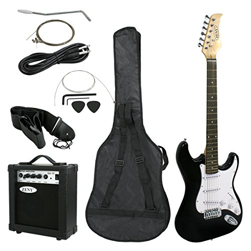 ZENY 39'' Full Size Electric Guitar with Amp, Case and Accessories Pack Beginner Starter Package (Black)