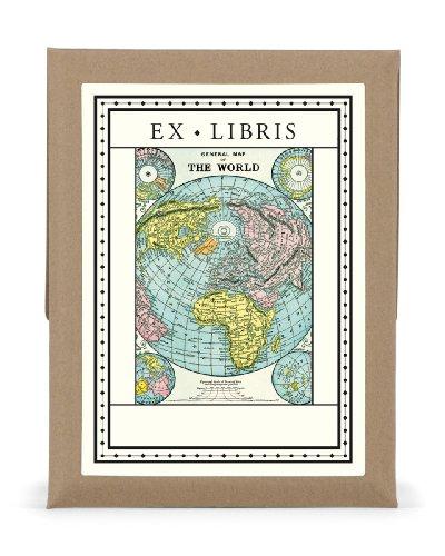 Cavallini 18-Pack World Map Bookplates