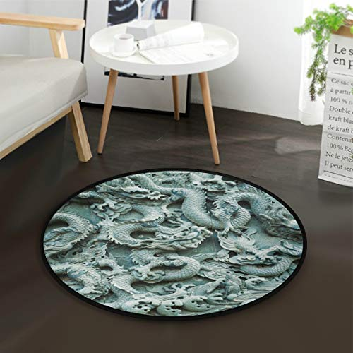- Carved Chinese Dragon Pattern Kids Round Rug Baby Crawling Non-Slip Mats Child Activity Play Mat for Bedroom Playroom Home Decor (Diameter 36.2