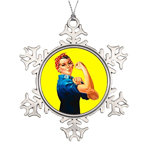 Kappies nip Custom Christmas Snowflake Ornament Rosie the Riveter - We can do it Cultural Icon Photo Snowflake (Winter Wonderland Office Decorating Ideas)