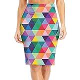 NKZSUX Womens Elegant colorful Geometric Midi Pencil Skirt Elasticity Slim Pencil Dress