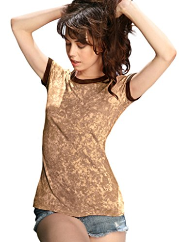 Kavio! Junior Vintage Silicon Wash Short Sleeve Ringer Tee Camel/Brown S
