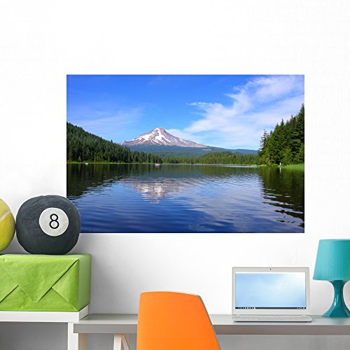 (Wallmonkeys FOT-9275172-36 WM94822 Mt Hood at Trillium Lake in The Summer Peel and Stick Wall Decals (36 in W x 24 in H), Large)