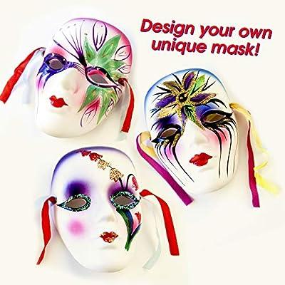 10 Máscaras Blancas Completa, Unisex - Máscara para Pintar De Disfraces, Decorar y Diseñar - PVC de alta Calidad - para Halloween, Cosplay, Bricolaje DIY, Manualidades, Carnaval y Mascarada.: Juguetes y juegos