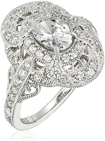 Platinum-Plated Sterling Silver Made with Swarovski Zirconia Oval Vintage Ring