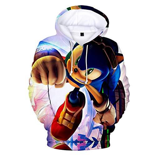 Cheerful D Sonic-Hedgehog Unisex Hoodie 3D Printed Hooded Pullover Sweatshirt for Men Women Boys Girls S Black