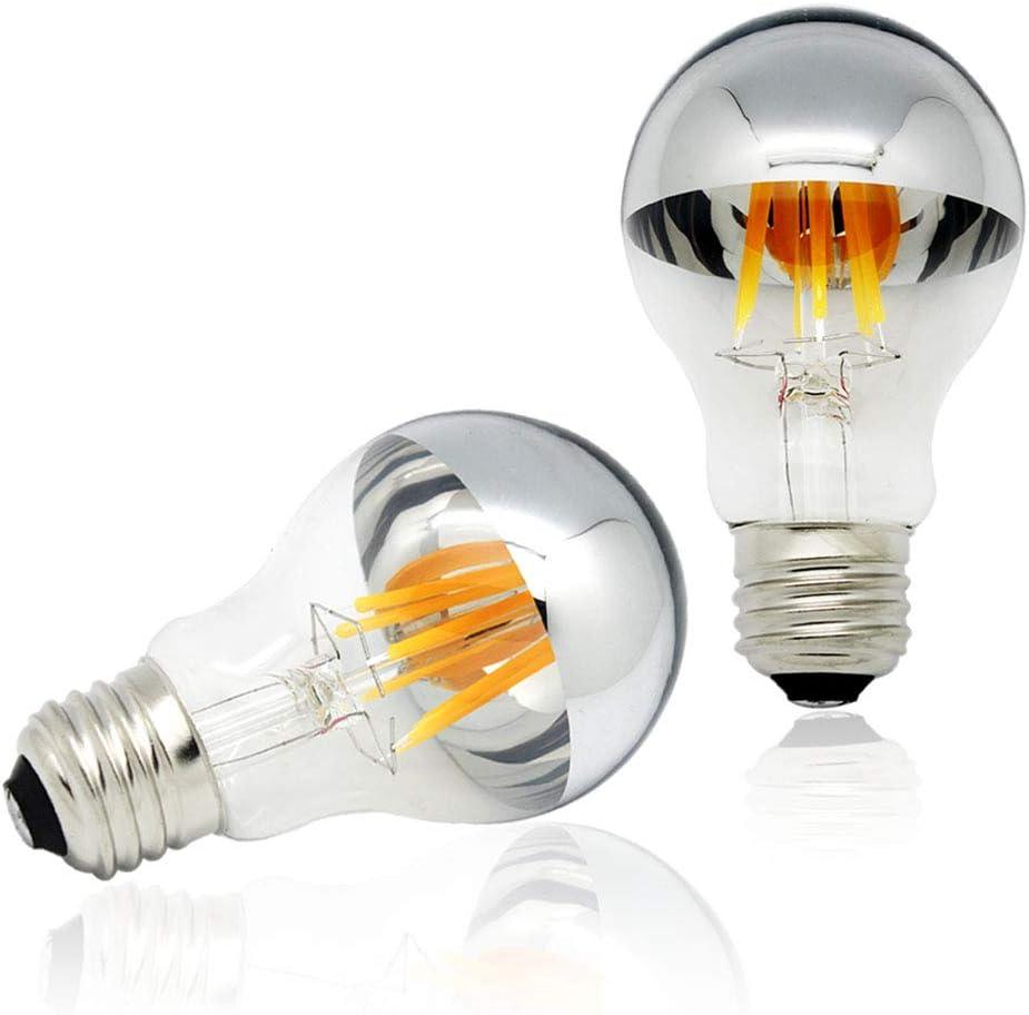 Half Chrome Light Bulb Dimmable 6w 60w Equivalent A19 A Shape Decorative Led Edison Bulb Silver Mirror Reflected Light 2700k Warm White E26 Base Pack Of 2 Amazon Com