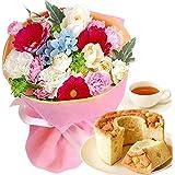 誕生日 プレゼント ギフト 花とスイーツセット 生花 ミニ花束 シフォンケーキ 花ギフト (ミックスカラー)