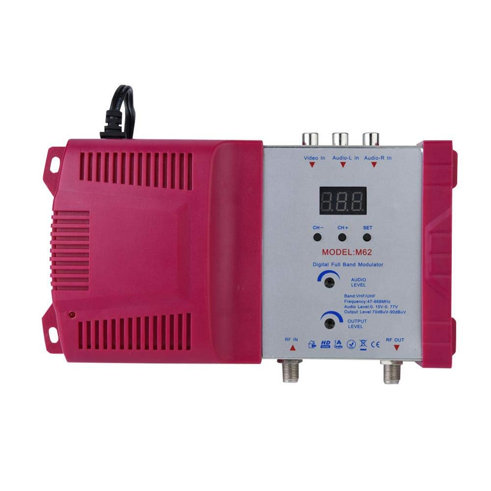 fosa Digital RF Modulator, AV inputs into RF Output Signals AV-RF Converter, VHF UHF Signal Amplifier for All Local CATV System, Can be Adjusted Output Level and Audio/Video Output Level(Red)