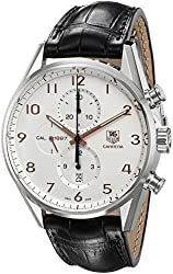 TAG Heuer Men's CAR2012.FC6235 Carrera Stainless Steel Watch with Black Leather Band