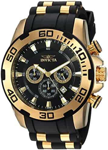 Invicta Men's Pro Diver Stainless Steel Quartz Watch with Silicone Strap, Black, 25 (Model: 22340