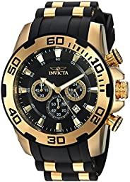 Invicta Men's Pro Diver Stainless Steel Quartz Watch with Silicone Strap, Black, 25 (Model: 22