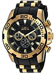 Invicta Mens Pro Diver Quartz Stainless Steel and Silicone Casual Watch, Color:Black (Model: 22340)