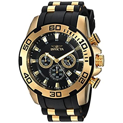 Invicta Men's Pro Diver Stainless Steel Quartz Watch with Silicone Strap, Black, 25 (Model: 22340)