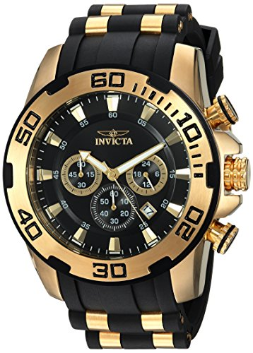 Invicta Men's Pro Diver Stainless Steel Quartz Watch with Silicone Strap, Black, 25 (Model: 22340) ()