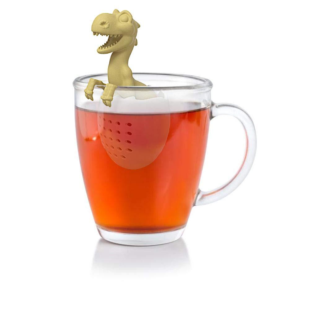 WXGY Silikon Teebeutel Blatt Kr/äutergew/ürzfilter Baby Dinosaurier Form Tee-Ei Siebe Wiederverwendbare Lose Filter