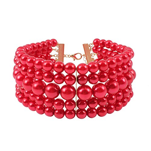 Red Imitate Pearl Choker Necklace ()