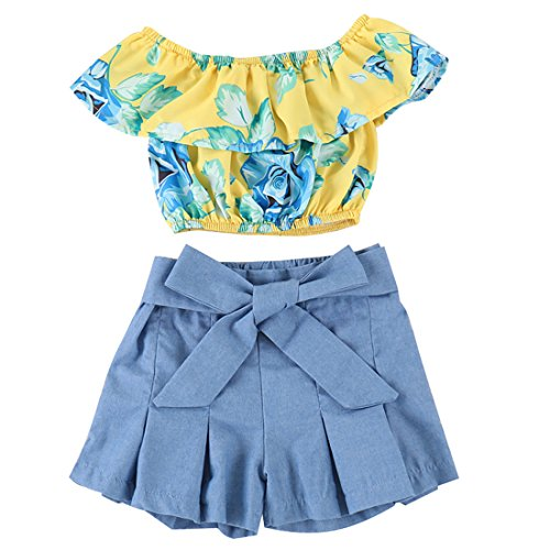 Kids Baby Girls Outfits Floral Ruffle Off Shoulder Crop Tops + Bowknot Denim Shorts Skirt Set Toddler Summer Clothes