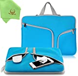 UESWILL Neoprene Soft Sleeve Bag Briefcase for 15'' MacBook Pro/and Laptop up to 15.4'' Ultrabook Chromebook Notebook Netbook Computer Tablet + Microfibre Cleaning Cloth,(Blue)