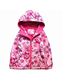 CX.AZUL Girls Toddler Cartoon Printed Winter Warm Fleece Lined Hoodies Coat Jacket