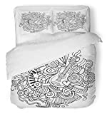 Emvency 3 Piece Duvet Cover Set Brushed Microfiber Fabric Breathable Dance Cartoon Cute Doodles Music Line Detailed with Lots All are Separate Party Bedding Set with 2 Pillow Covers Twin Size