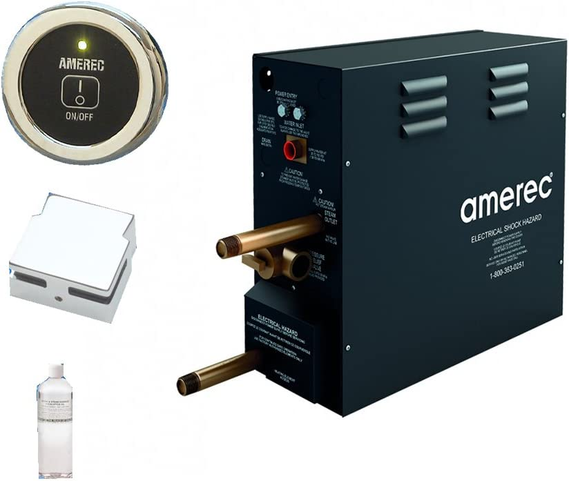 Amerec AK 11 KW Steam Bath Generator with R30K On//Off Control Steam Head and Free Aroma Therapy Oil