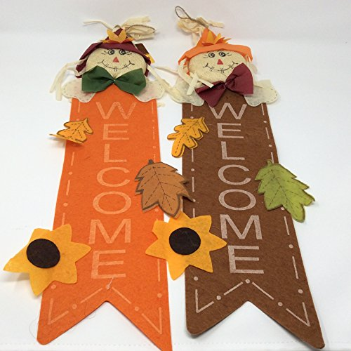 Fall Autumn Harvest Home Decor ~ Felt Straw Leaf Hanging Welcome Decoration Thanksgiving (Color may vary)