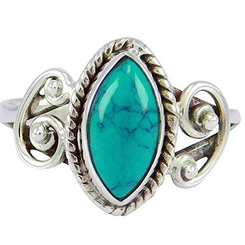angel3292 Clerance DealsAntique Marquise Cut Turquoise Finger Ring Women Tibetan Carved Jewelry Gift Antique Silver US 7