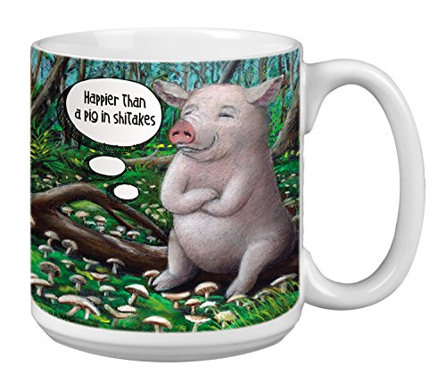 Pig in Shitakes Extra Large Mug, 20-Ounce Jumbo Ceramic Coffee Cup, Themed Animal Art - Gift for Pig and Coffee Lovers (XM29540) Tree-Free Greetings (Pig Mugs Coffee)