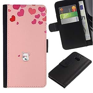 iBinBang / Flip Funda de Cuero Case Cover - Corazón del amor del cerdo rosado lindo - HTC One M8