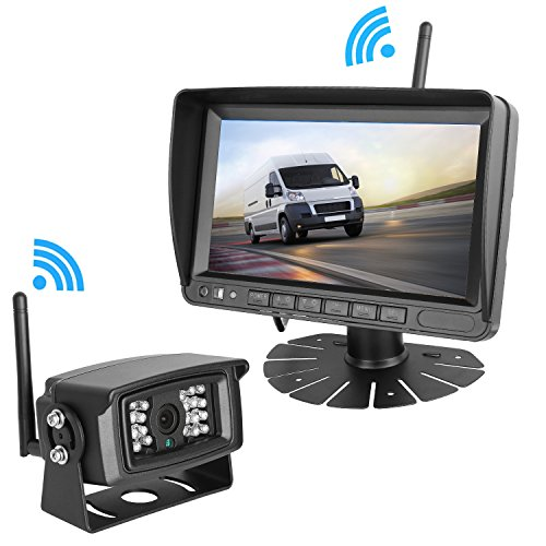 LeeKooLuu Digital Wireless Built-in Backup Camera and 7'' Monitor System Kit Working Over 300 ft Stable Signals Grid Lines Optional Waterproof Night Vision for Trailer/RV/Trucks/Motorhome/5th wheel