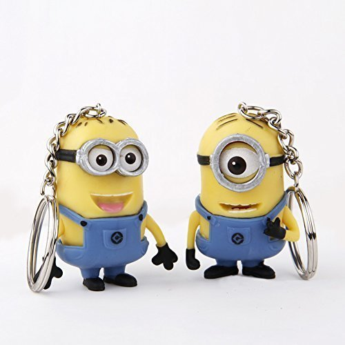 (Cute Cartoon Despicable Me 3d Eye Small Minions Anime Doll Rubber Action Figure Classic Kid Toys Key Chains)