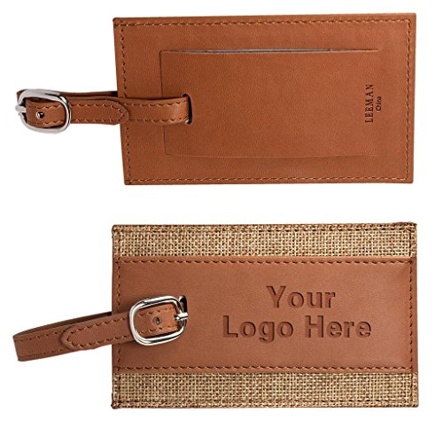 PU Leather Luggage Tag Pack of 50 Promotional Products Bulk Custom w/ Your LOGO by C2BPROMO.COM YOU PRICE IT. WE DELIVER IT.