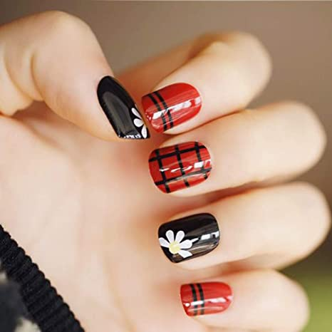 Jovono 24 uñas postizas de color negro y rojo con líneas blancas y ...