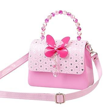 Mecher Little Girls Crossbody Handbags Bowknot Girls Purses Pink