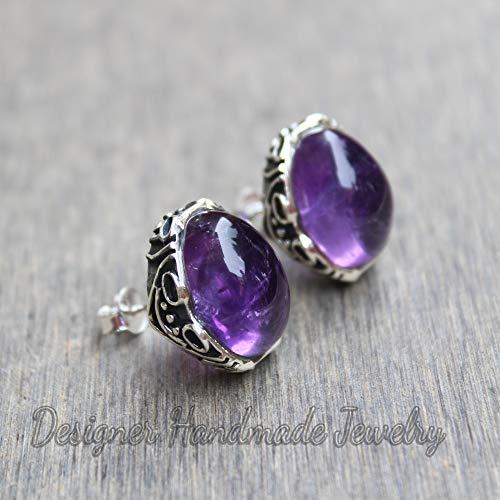 Amethyst Studs Earrings, Customized Earrings, Natural Gemstone Handmade Jewelry, 925 Sterling Silver Earrings, Purple Amethyst Jewelry, Designer Studs Earrings, Birthday Gift Earrings