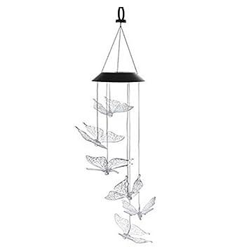 LED Lumière Carillon à Vent Energie Solaire Allumer Automatiquement La Nuit  Décor Maison Jardin   Papillon