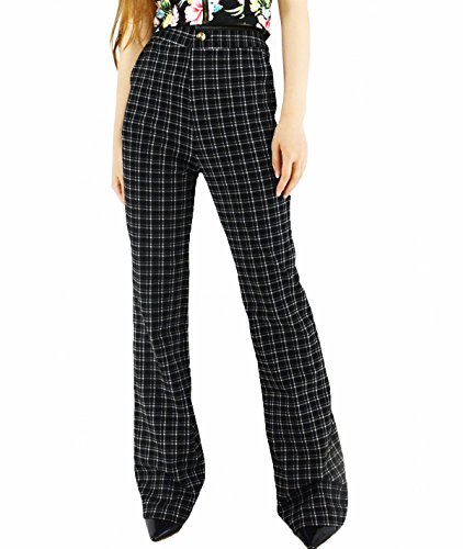 YSJ Women's High Waisted Wide Leg Long Palazzo Pants 41.3-Inch 8 Sizes Available (14, Black Plaid)